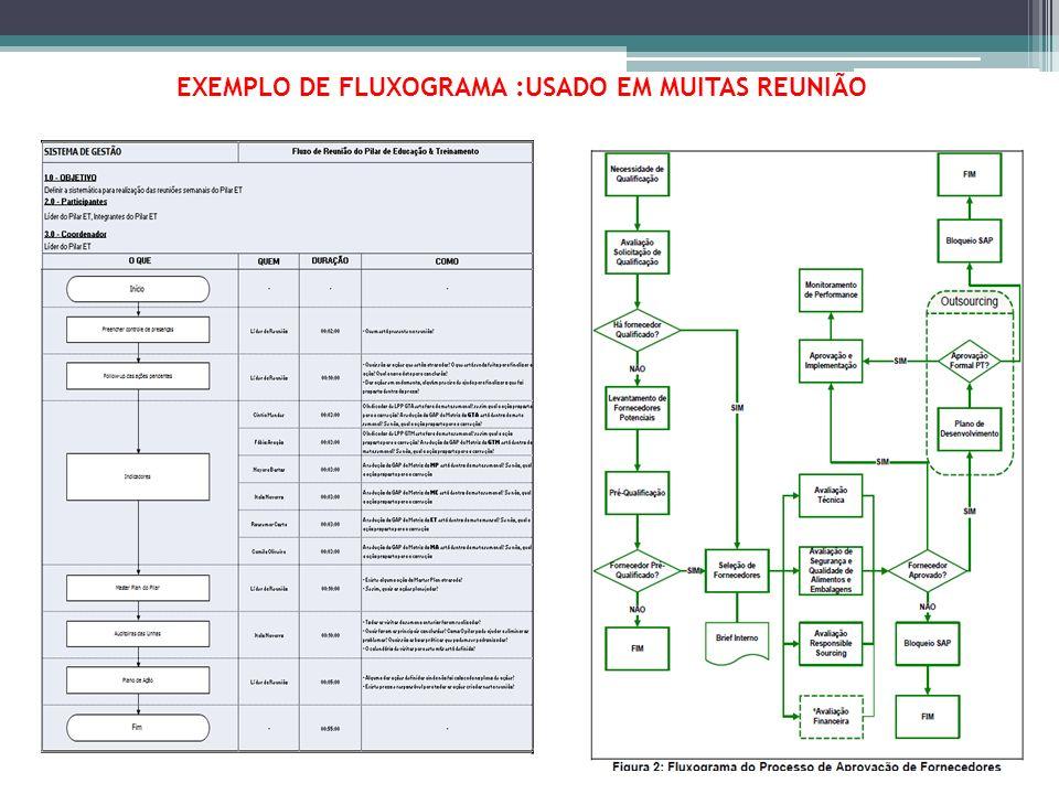 EXEMPLO DE FLUXOGRAMA :USADO EM MUITAS REUNIÃO