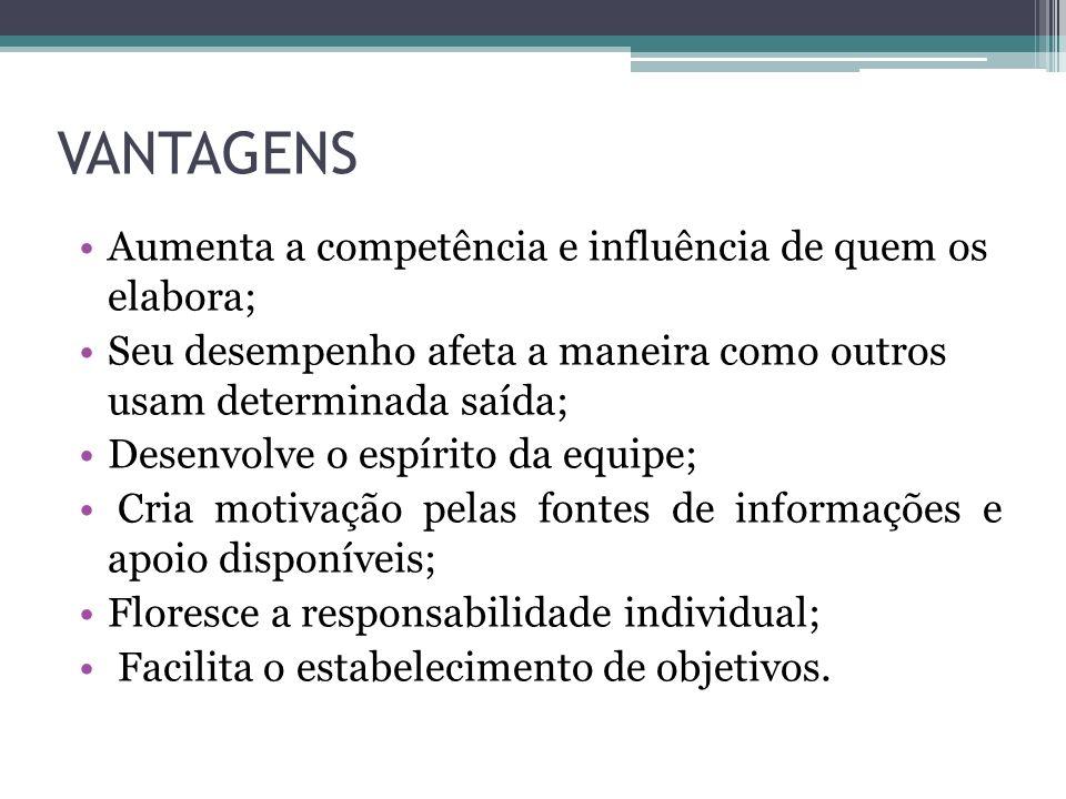 VANTAGENS Aumenta a competência e influência de quem os elabora;