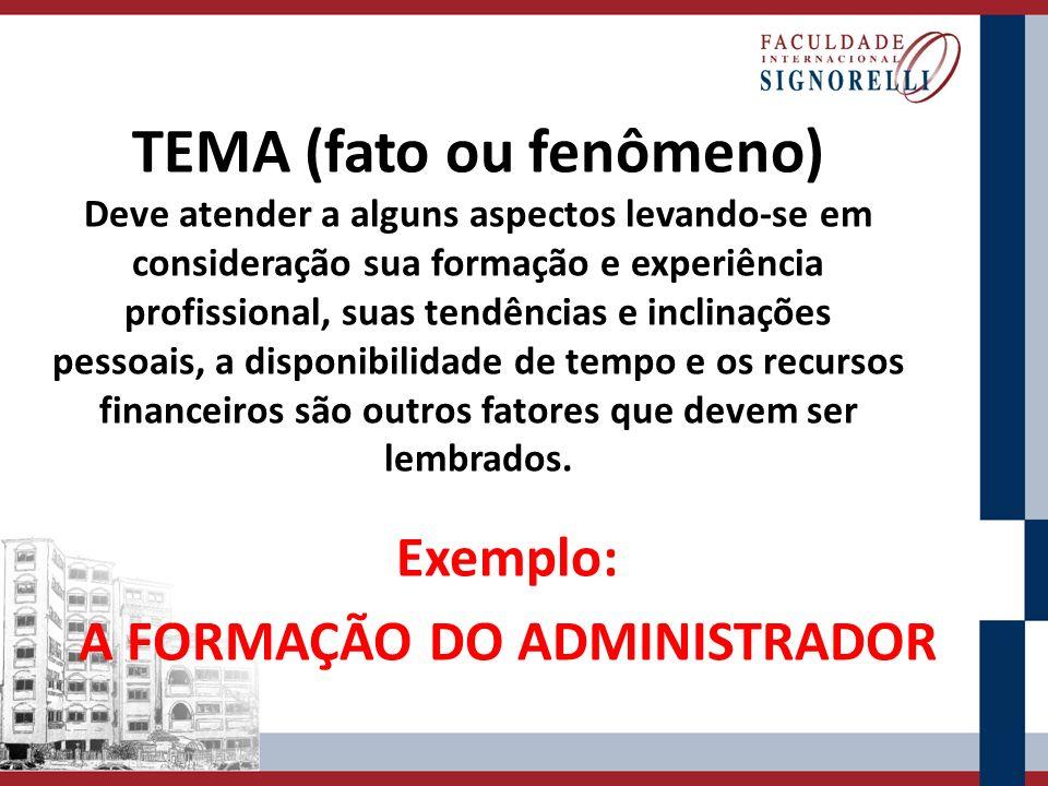 Exemplo: A FORMAÇÃO DO ADMINISTRADOR