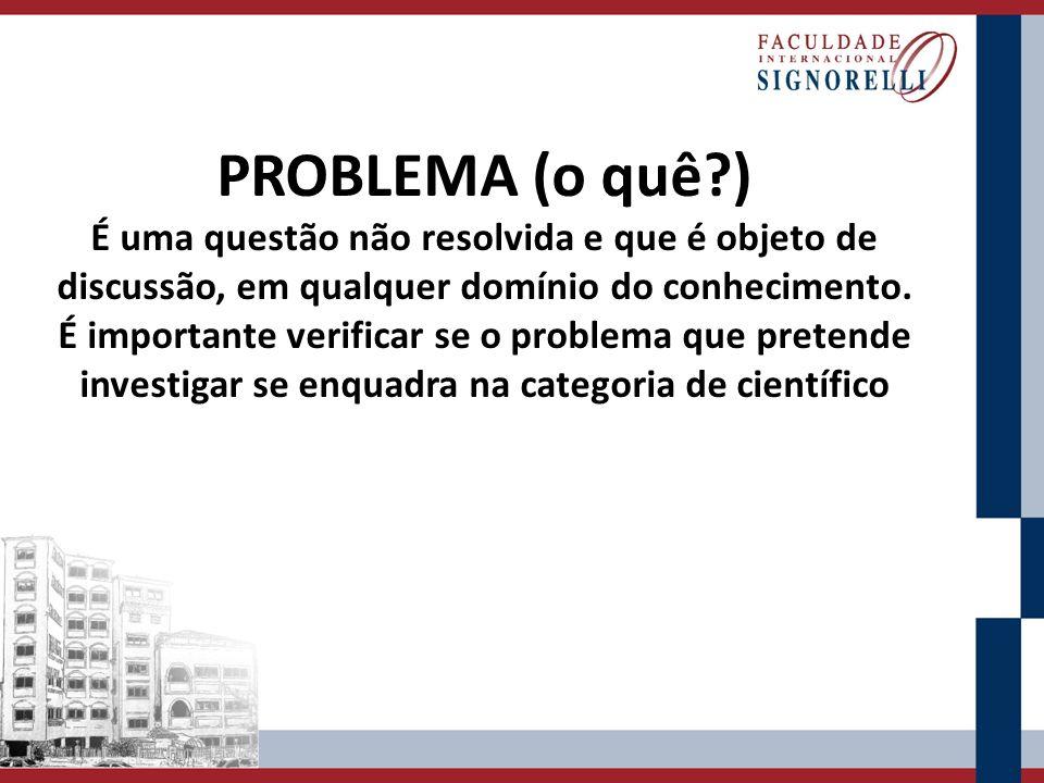 PROBLEMA (o quê ) É uma questão não resolvida e que é objeto de discussão, em qualquer domínio do conhecimento.