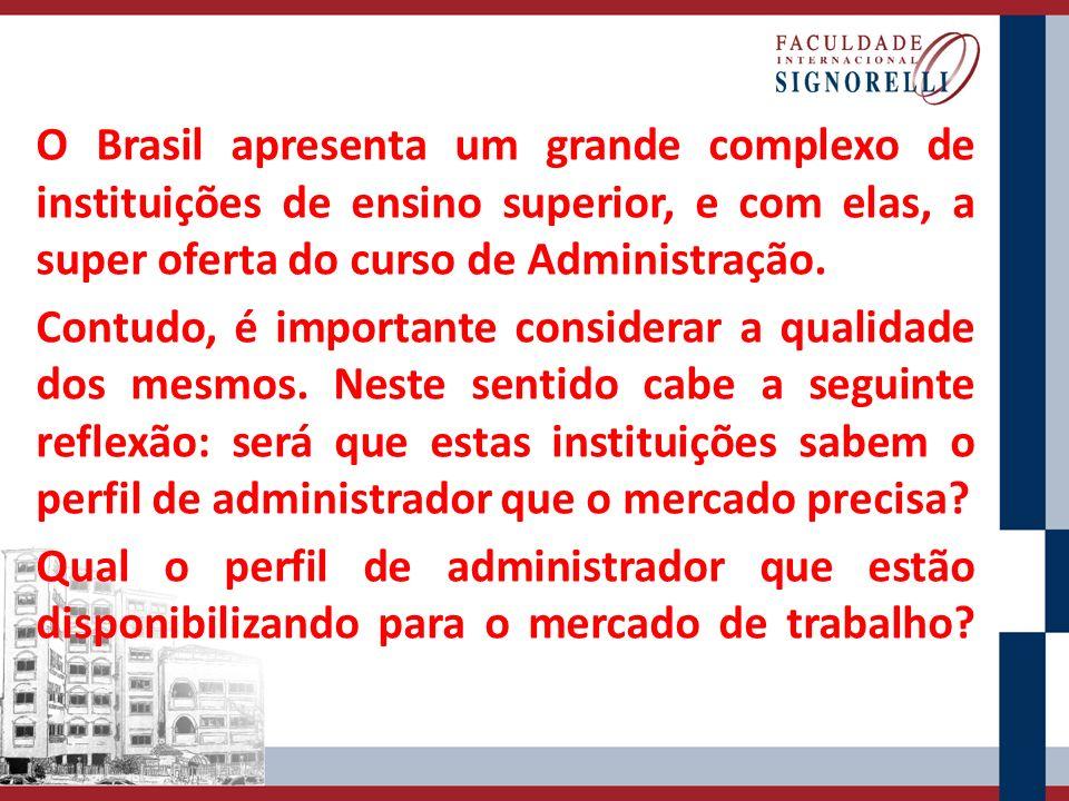 O Brasil apresenta um grande complexo de instituições de ensino superior, e com elas, a super oferta do curso de Administração.