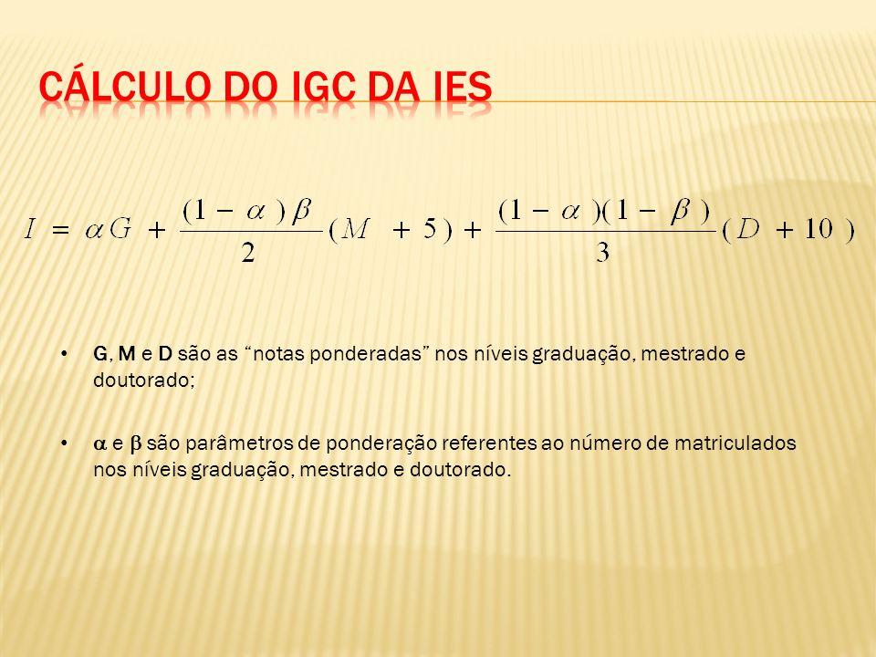 Cálculo do IGC da IES G, M e D são as notas ponderadas nos níveis graduação, mestrado e doutorado;