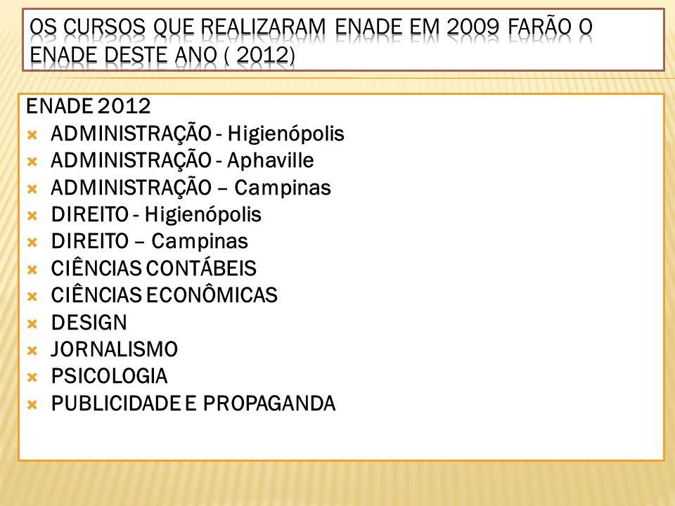 Os cursos que realizaram ENADE EM 2009 FARÃO O ENADE DESTE ANO ( 2012)