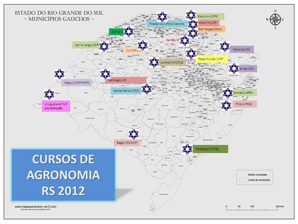 CURSOS DE AGRONOMIA RS 2012 Pelotas/UFPEL Erechim/UFFS