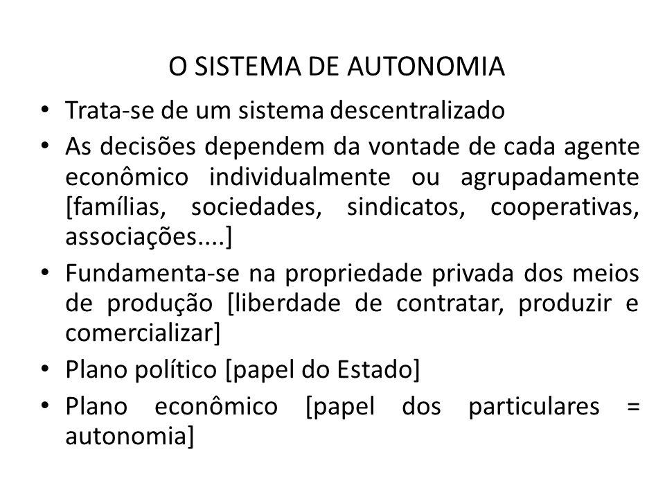 O SISTEMA DE AUTONOMIA Trata-se de um sistema descentralizado