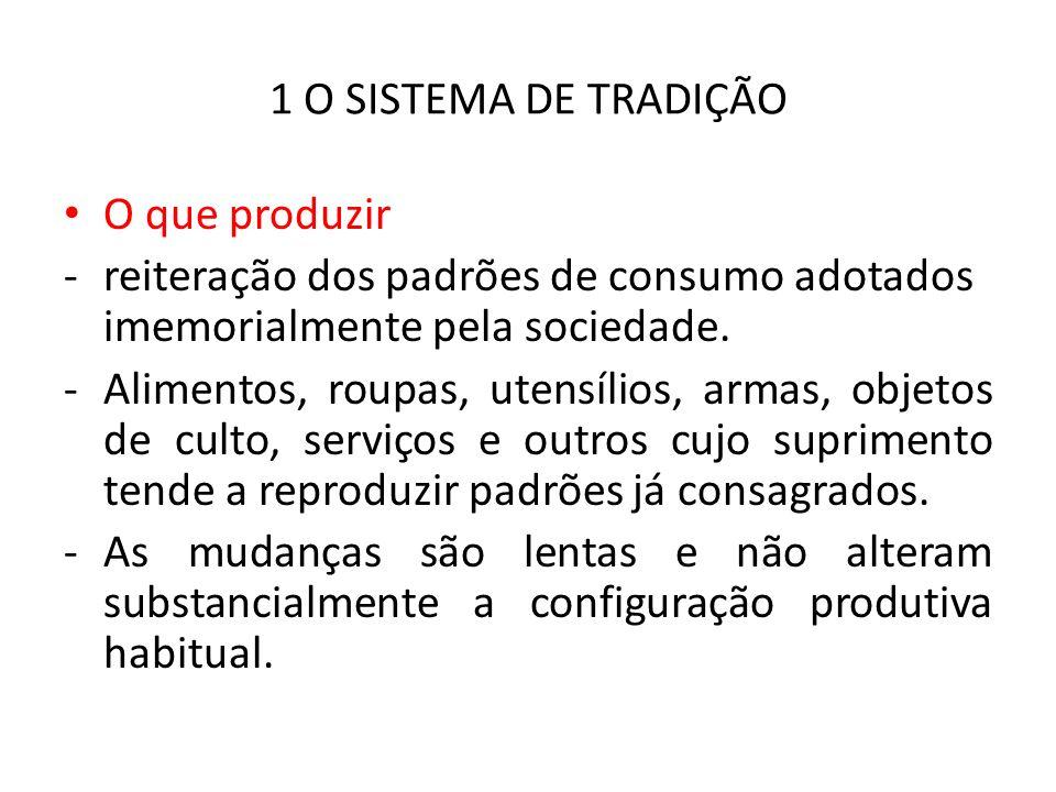 1 O SISTEMA DE TRADIÇÃO O que produzir. reiteração dos padrões de consumo adotados imemorialmente pela sociedade.