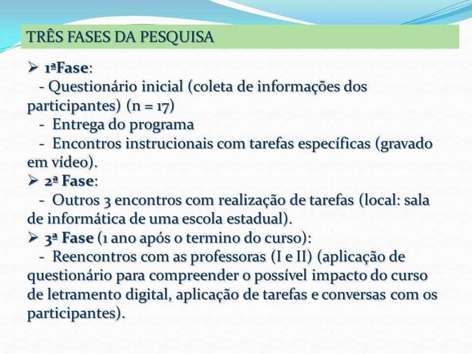 TRÊS FASES DA PESQUISA 1ªFase: - Questionário inicial (coleta de informações dos participantes) (n = 17)