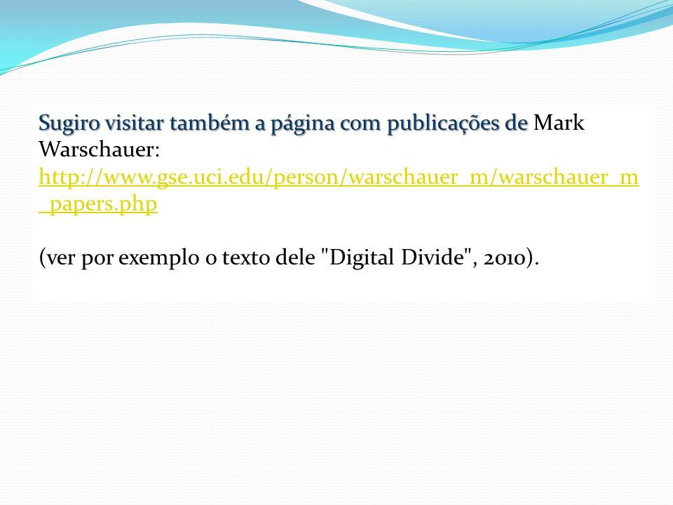 Sugiro visitar também a página com publicações de Mark Warschauer:
