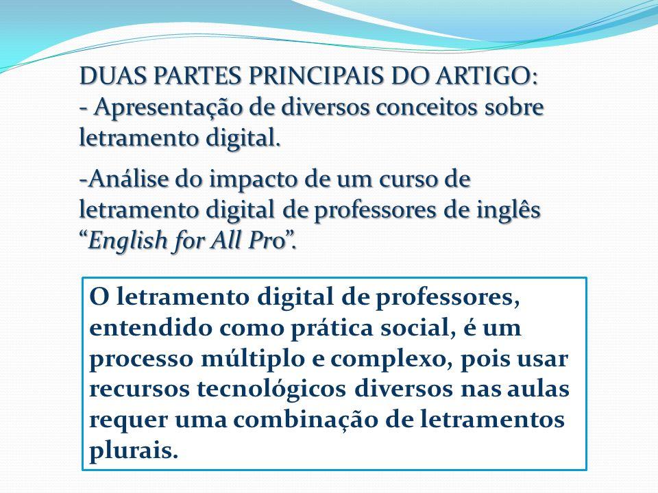 DUAS PARTES PRINCIPAIS DO ARTIGO: