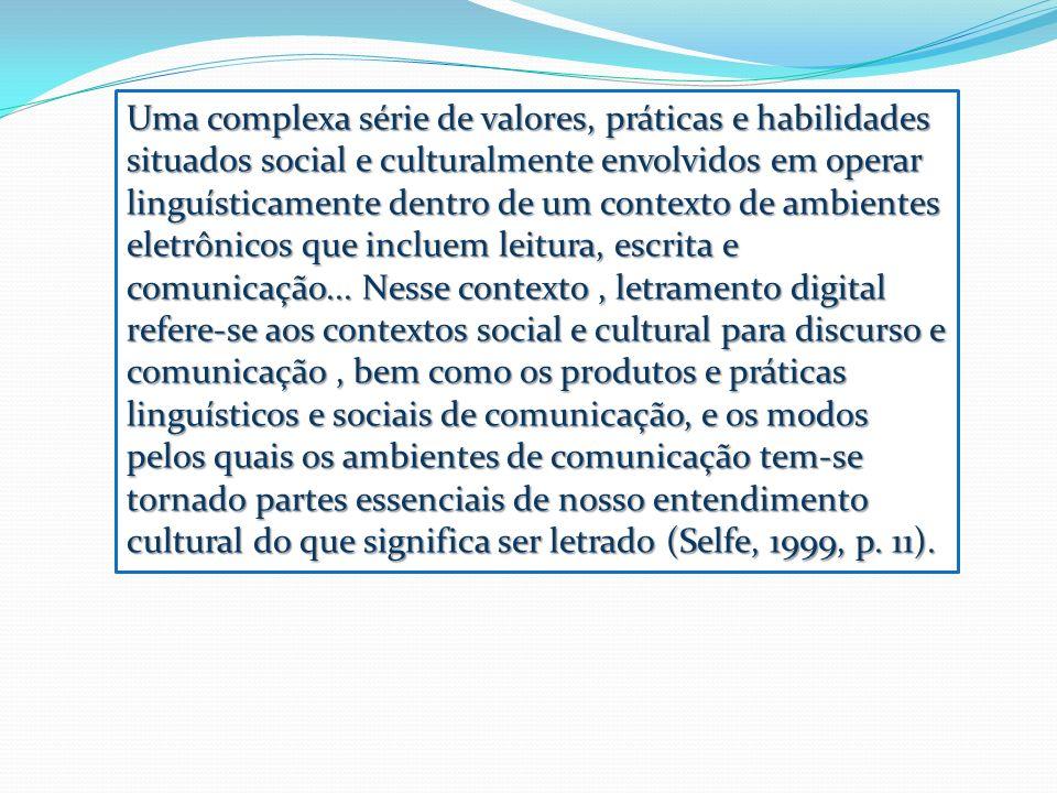 Uma complexa série de valores, práticas e habilidades situados social e culturalmente envolvidos em operar linguísticamente dentro de um contexto de ambientes eletrônicos que incluem leitura, escrita e comunicação...