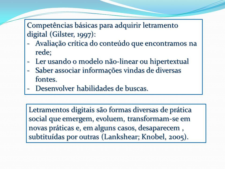 Competências básicas para adquirir letramento digital (Gilster, 1997):