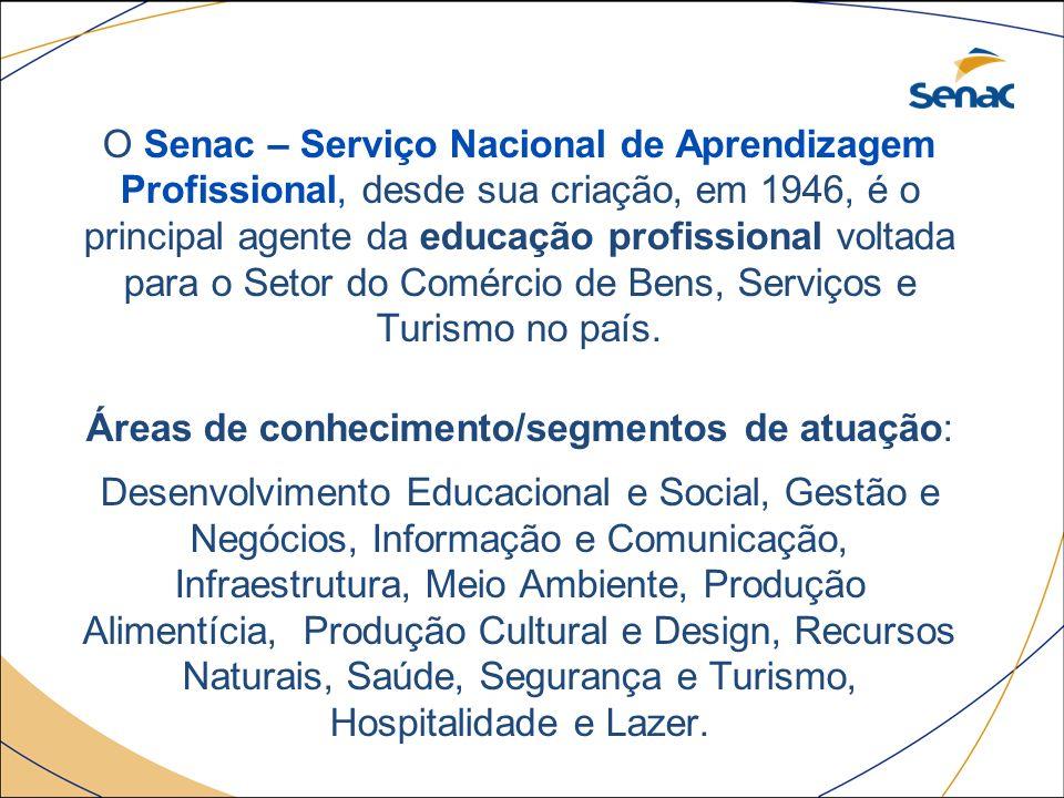 O Senac – Serviço Nacional de Aprendizagem Profissional, desde sua criação, em 1946, é o principal agente da educação profissional voltada para o Setor do Comércio de Bens, Serviços e Turismo no país.