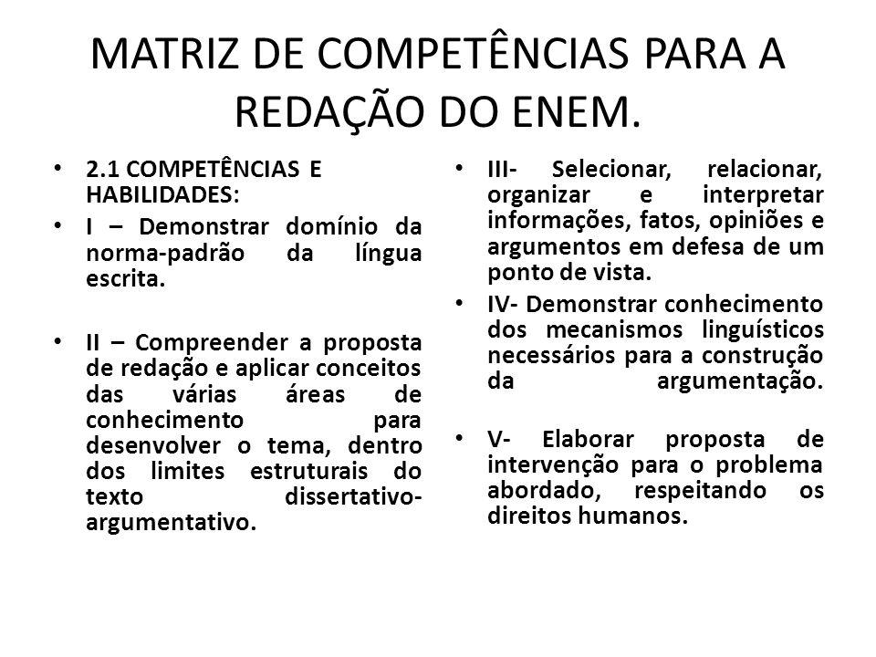 MATRIZ DE COMPETÊNCIAS PARA A REDAÇÃO DO ENEM.