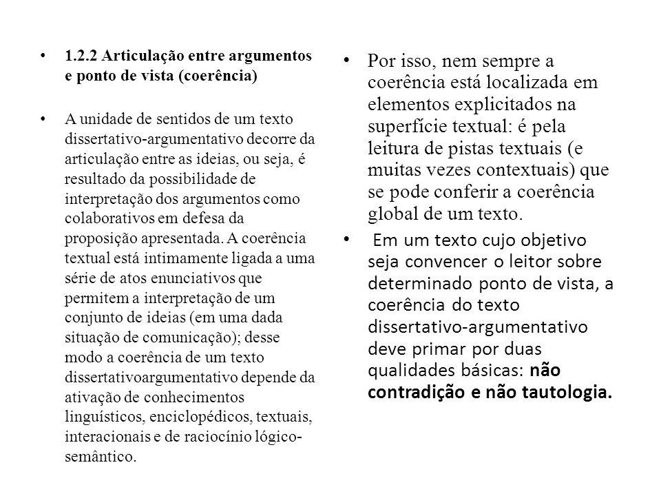 1.2.2 Articulação entre argumentos e ponto de vista (coerência)