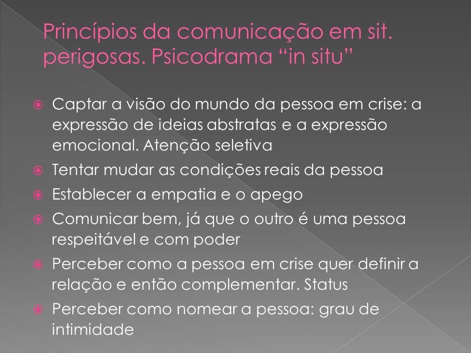 Princípios da comunicação em sit. perigosas. Psicodrama in situ