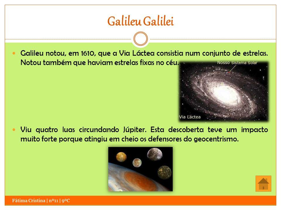 Galileu Galilei Galileu notou, em 1610, que a Via Láctea consistia num conjunto de estrelas. Notou também que haviam estrelas fixas no céu.