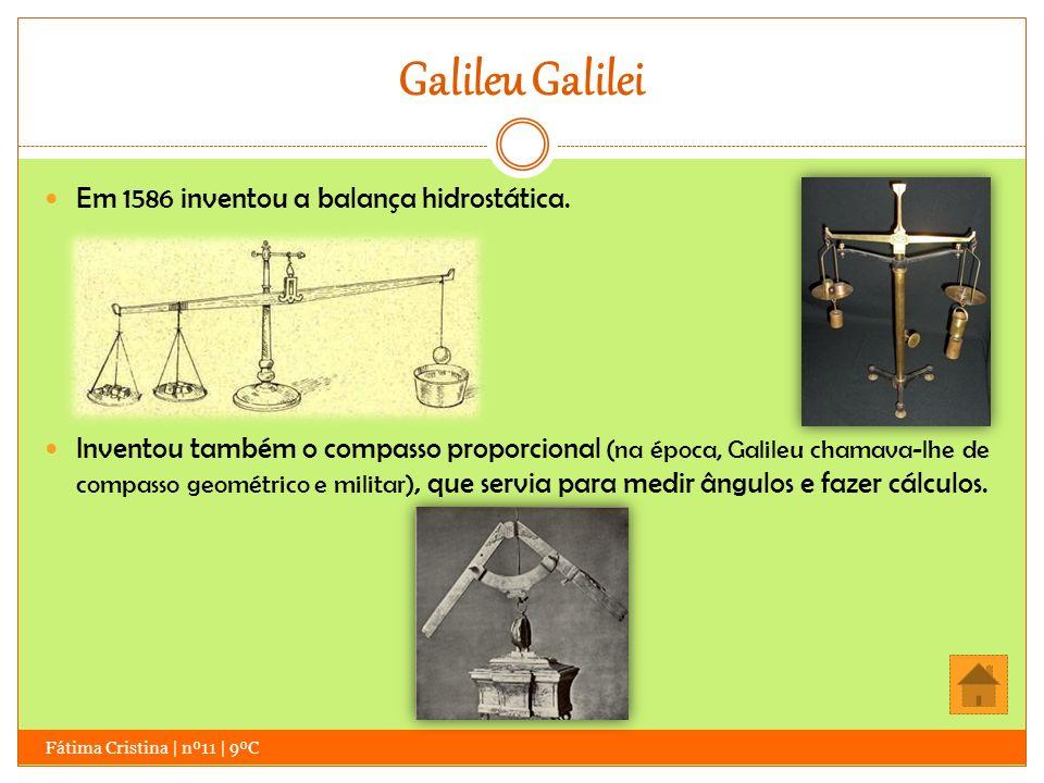 Galileu Galilei Em 1586 inventou a balança hidrostática.