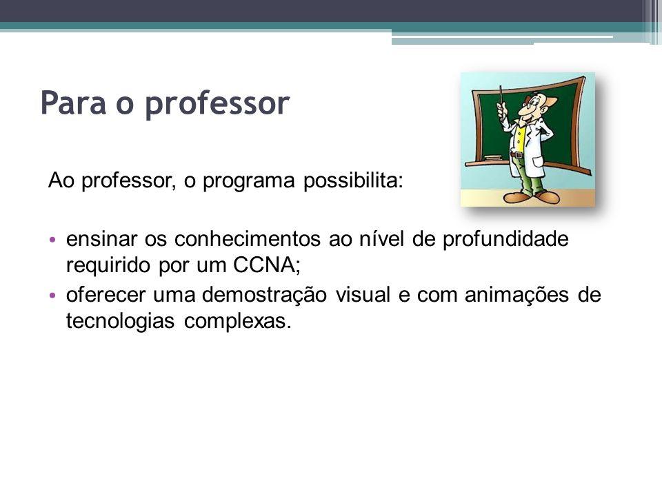 Para o professor Ao professor, o programa possibilita:
