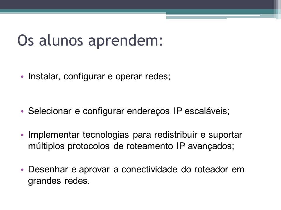 Os alunos aprendem: Instalar, configurar e operar redes;