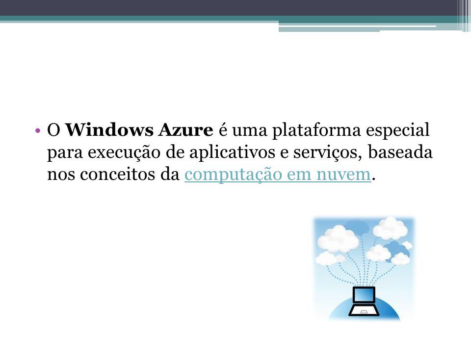 O Windows Azure é uma plataforma especial para execução de aplicativos e serviços, baseada nos conceitos da computação em nuvem.