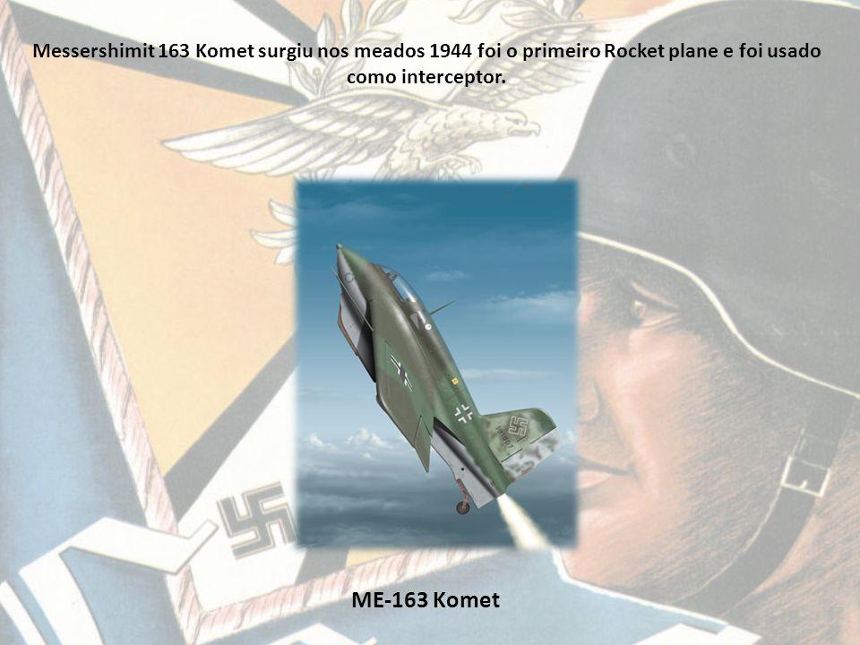 Messershimit 163 Komet surgiu nos meados 1944 foi o primeiro Rocket plane e foi usado como interceptor.