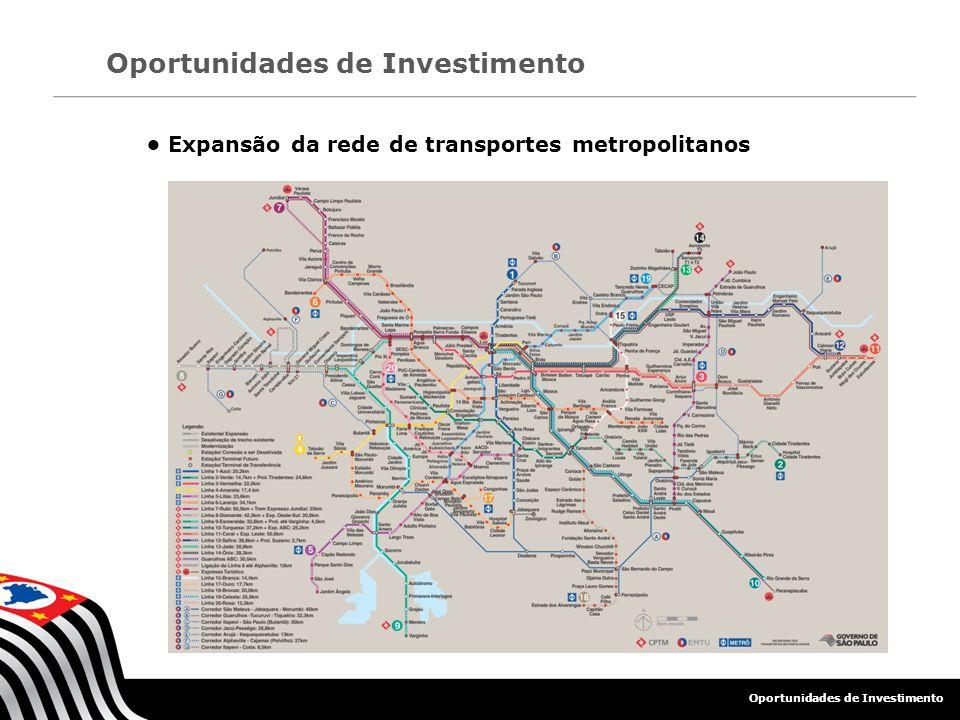 • Expansão da rede de transportes metropolitanos