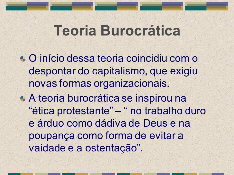 Teoria Burocrática O início dessa teoria coincidiu com o despontar do capitalismo, que exigiu novas formas organizacionais.