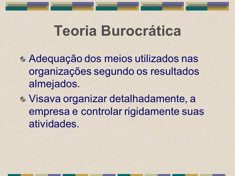Teoria Burocrática Adequação dos meios utilizados nas organizações segundo os resultados almejados.