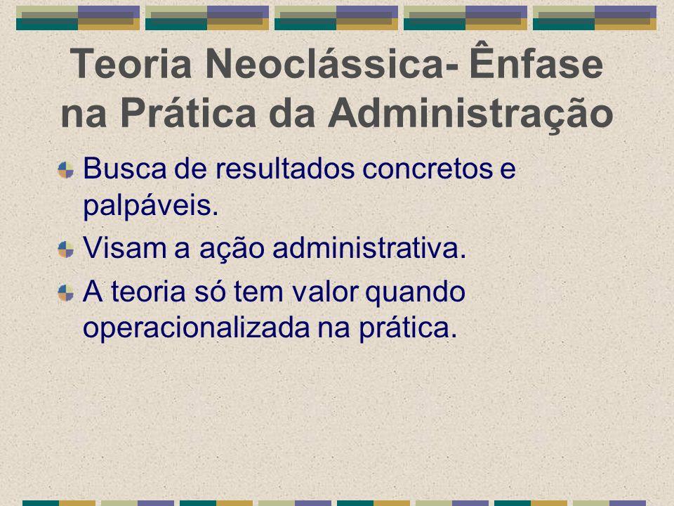 Teoria Neoclássica- Ênfase na Prática da Administração
