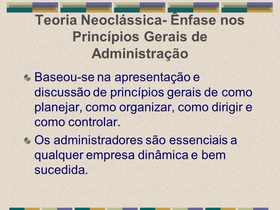 Teoria Neoclássica- Ênfase nos Princípios Gerais de Administração