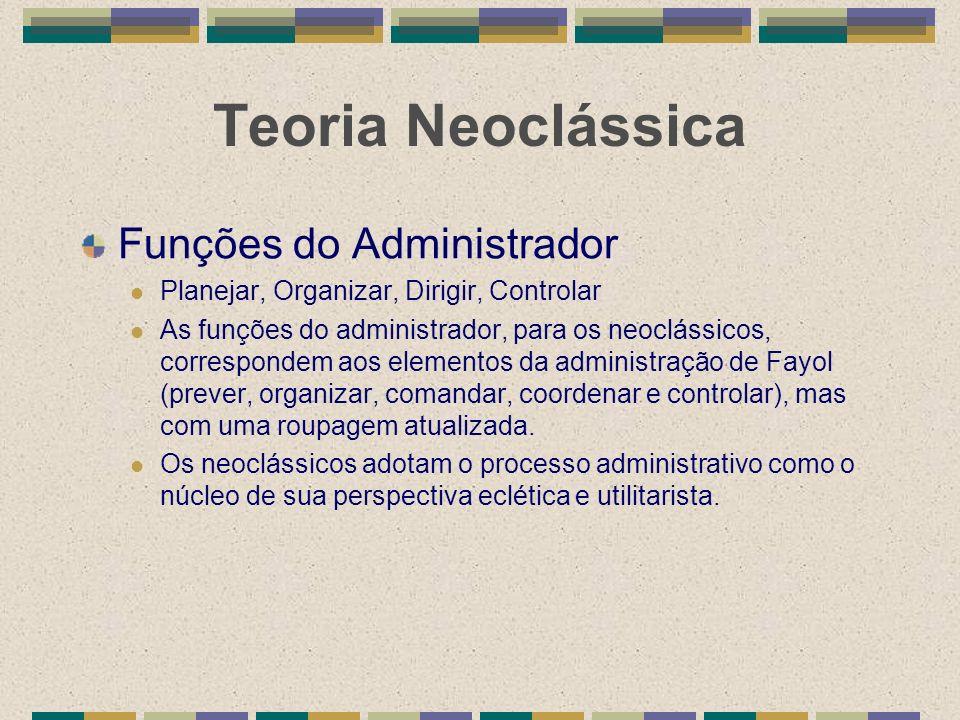 Teoria Neoclássica Funções do Administrador