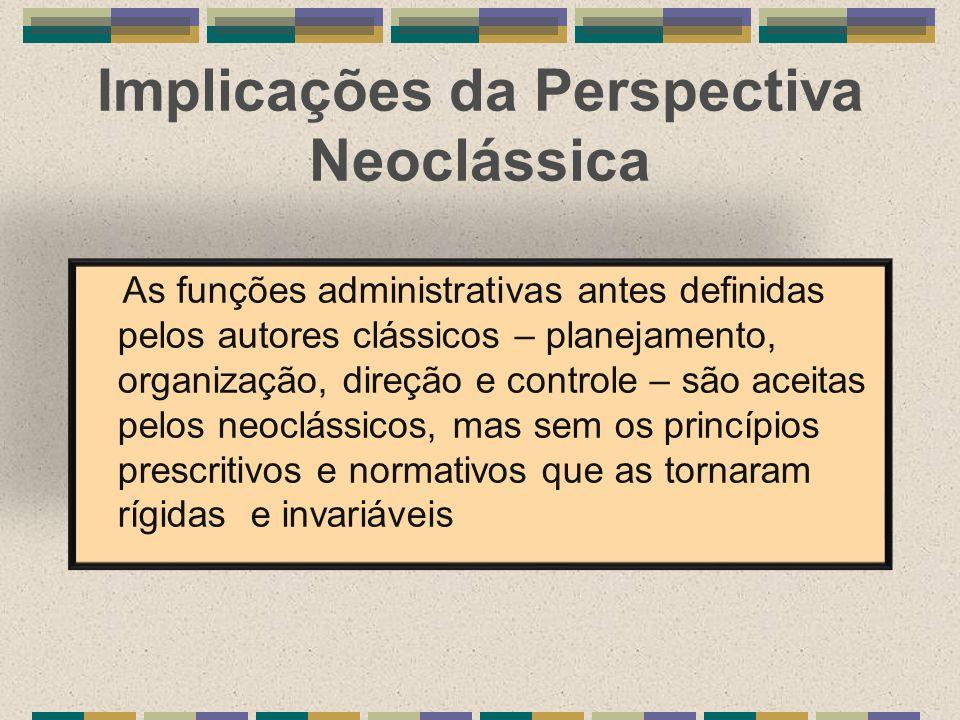 Implicações da Perspectiva Neoclássica