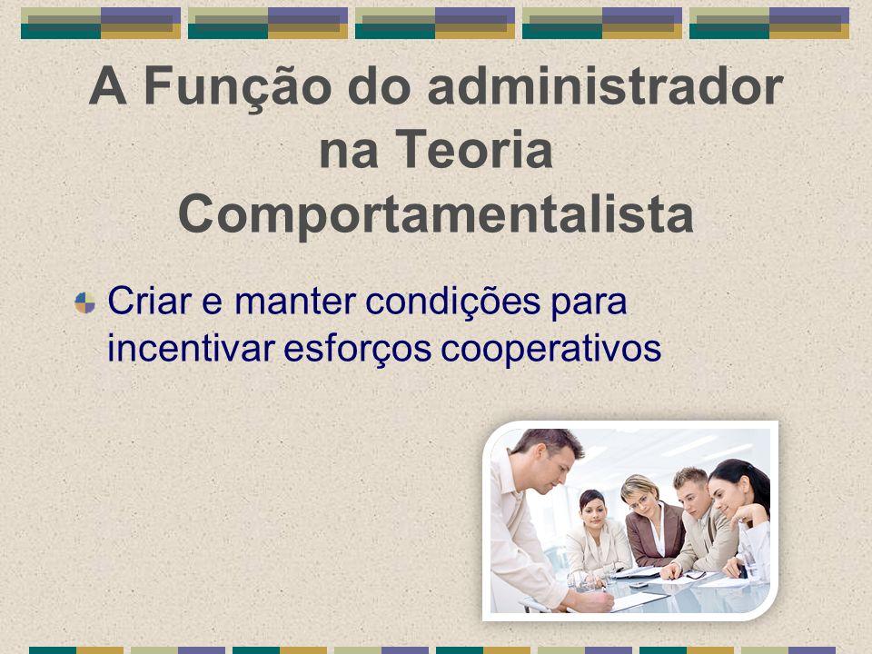 A Função do administrador na Teoria Comportamentalista