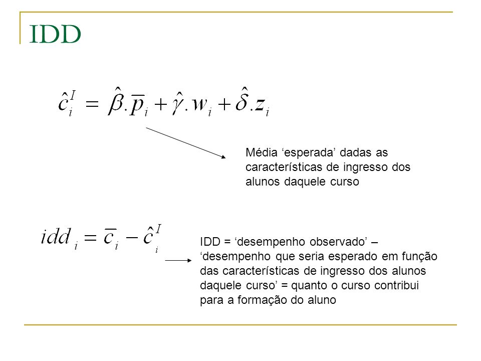 IDD Média 'esperada' dadas as características de ingresso dos alunos daquele curso.