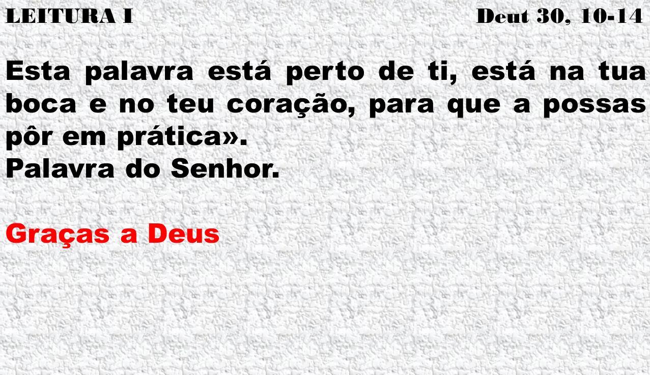 LEITURA I Deut 30, 10-14 Esta palavra está perto de ti, está na tua boca e no teu coração, para que a possas pôr em prática».
