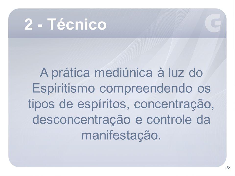 2 - Técnico A prática mediúnica à luz do Espiritismo compreendendo os tipos de espíritos, concentração, desconcentração e controle da manifestação.