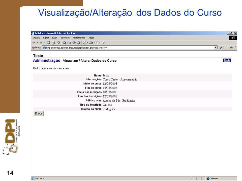 Visualização/Alteração dos Dados do Curso