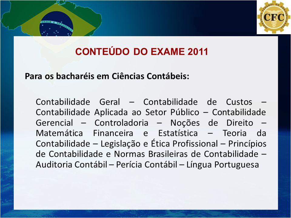 CONTEÚDO DO EXAME 2011 Para os bacharéis em Ciências Contábeis: