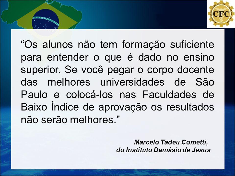 Os alunos não tem formação suficiente para entender o que é dado no ensino superior. Se você pegar o corpo docente das melhores universidades de São Paulo e colocá-los nas Faculdades de Baixo Índice de aprovação os resultados não serão melhores.