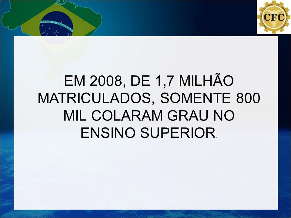 EM 2008, DE 1,7 MILHÃO MATRICULADOS, SOMENTE 800 MIL COLARAM GRAU NO
