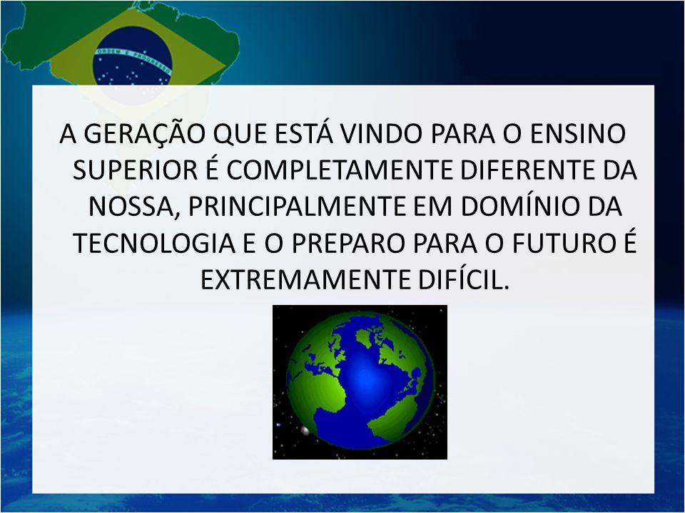 A GERAÇÃO QUE ESTÁ VINDO PARA O ENSINO SUPERIOR É COMPLETAMENTE DIFERENTE DA NOSSA, PRINCIPALMENTE EM DOMÍNIO DA TECNOLOGIA E O PREPARO PARA O FUTURO É EXTREMAMENTE DIFÍCIL.