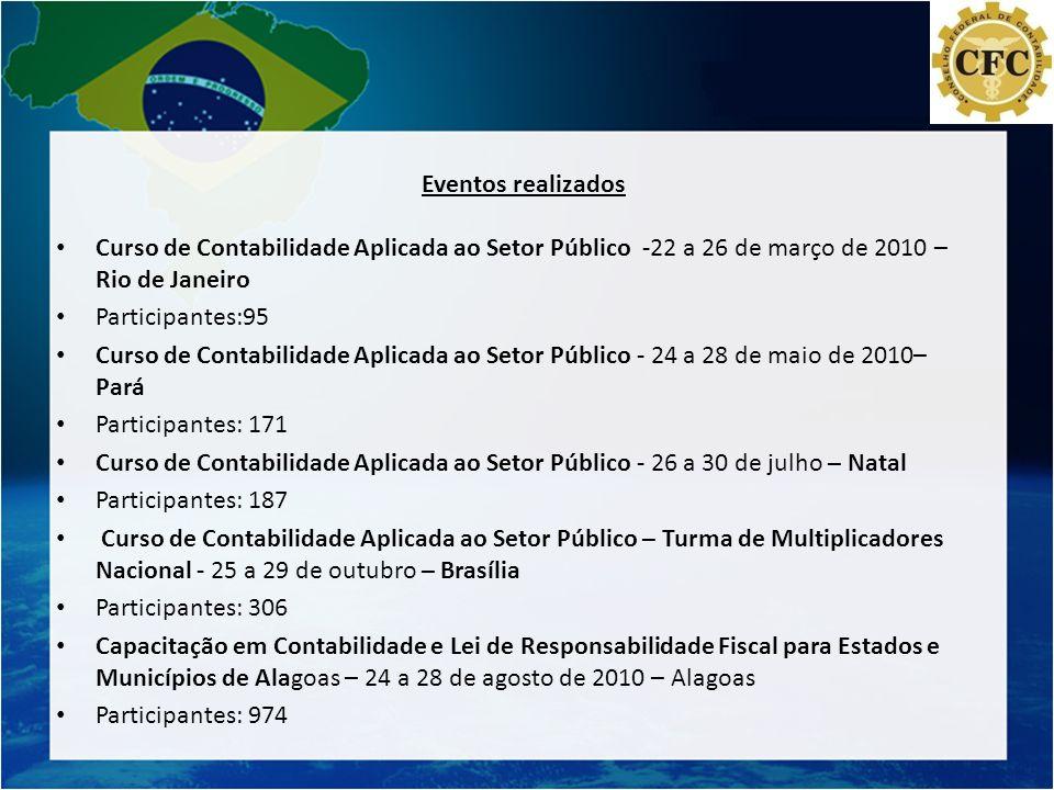 Eventos realizados Curso de Contabilidade Aplicada ao Setor Público -22 a 26 de março de 2010 – Rio de Janeiro.