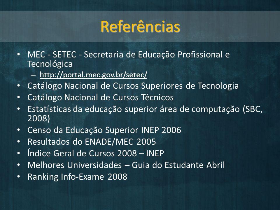 Referências MEC - SETEC - Secretaria de Educação Profissional e Tecnológica. http://portal.mec.gov.br/setec/