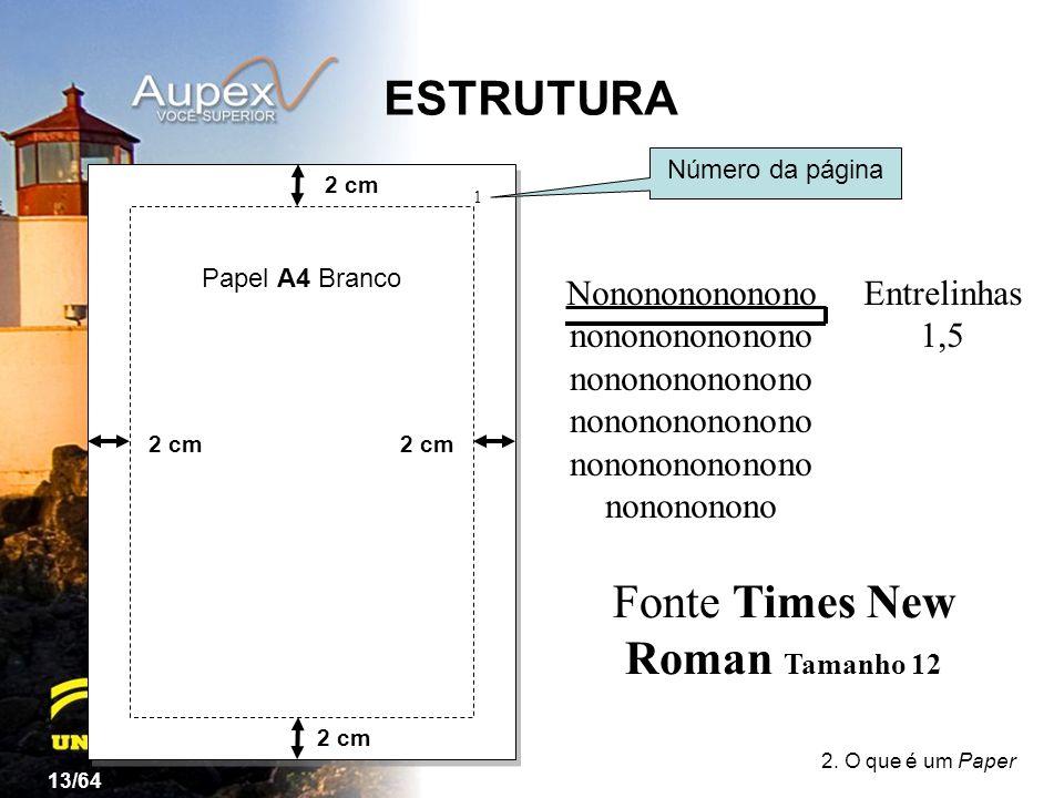 Fonte Times New Roman Tamanho 12