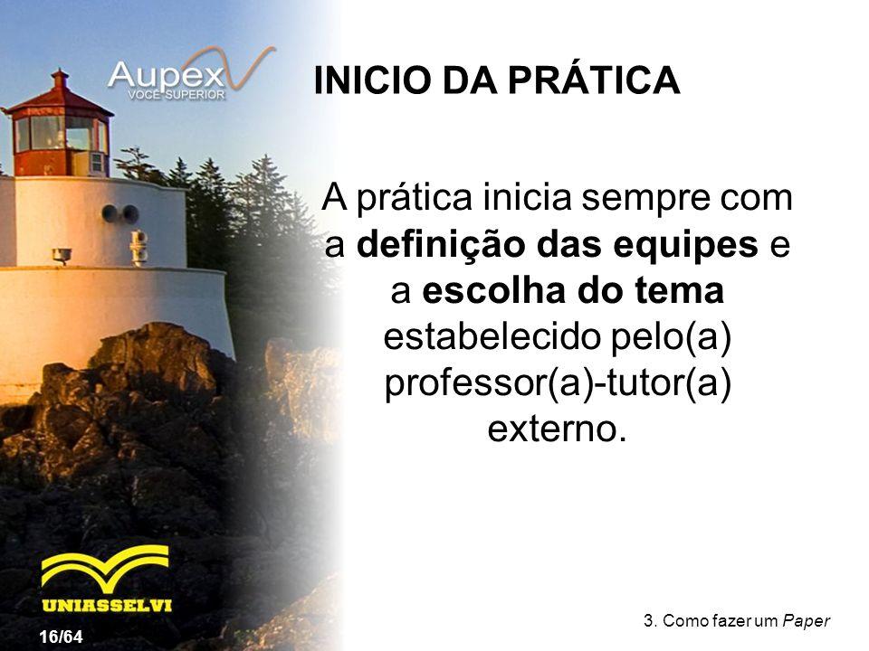 INICIO DA PRÁTICA A prática inicia sempre com a definição das equipes e a escolha do tema estabelecido pelo(a) professor(a)-tutor(a) externo.