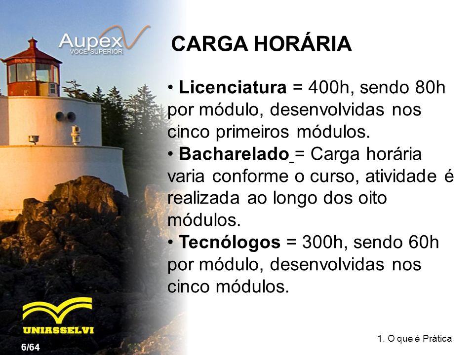 CARGA HORÁRIA Licenciatura = 400h, sendo 80h por módulo, desenvolvidas nos cinco primeiros módulos.