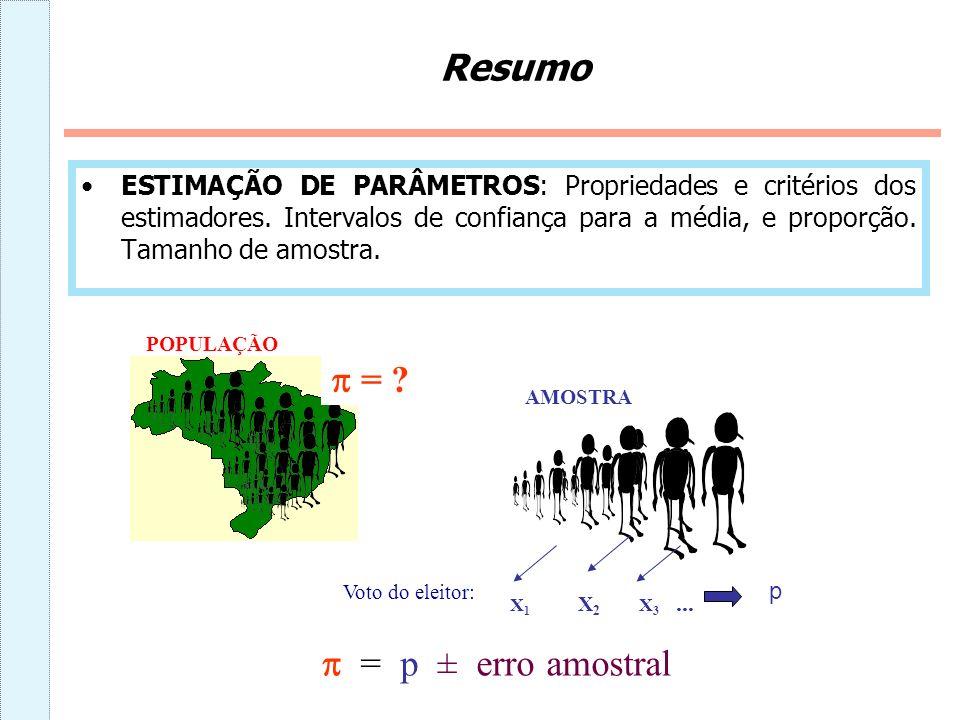 Resumo  =  = p ± erro amostral