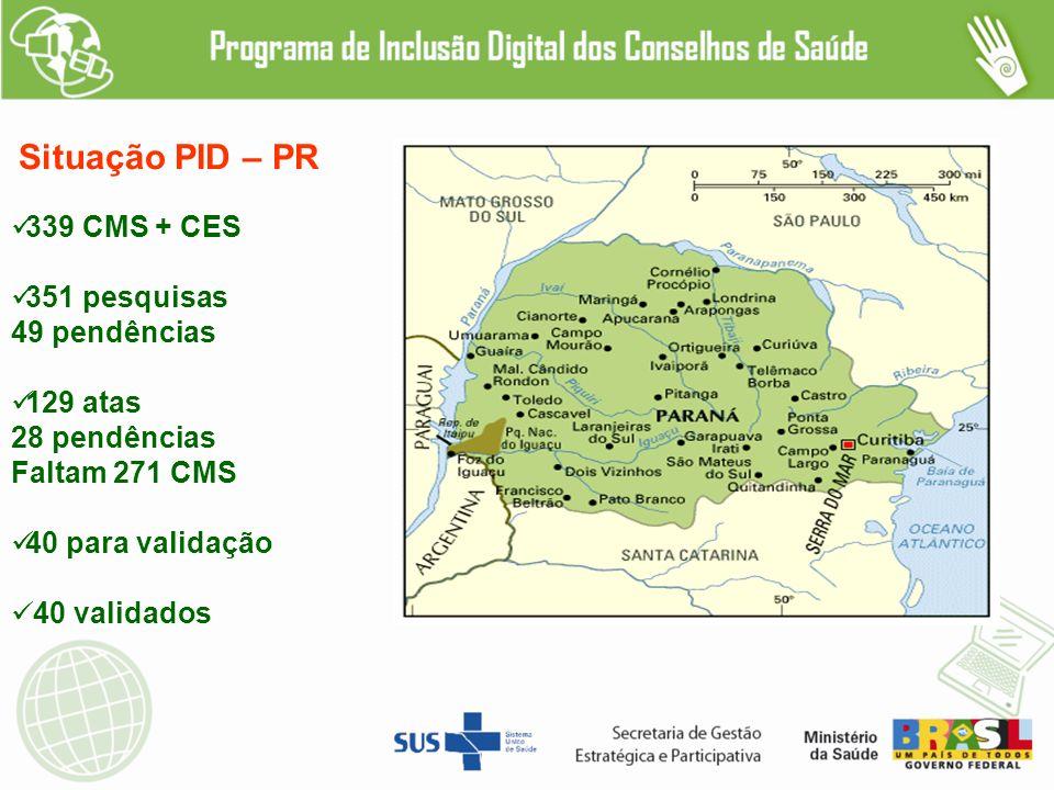 Situação PID – PR 339 CMS + CES 351 pesquisas 49 pendências 129 atas