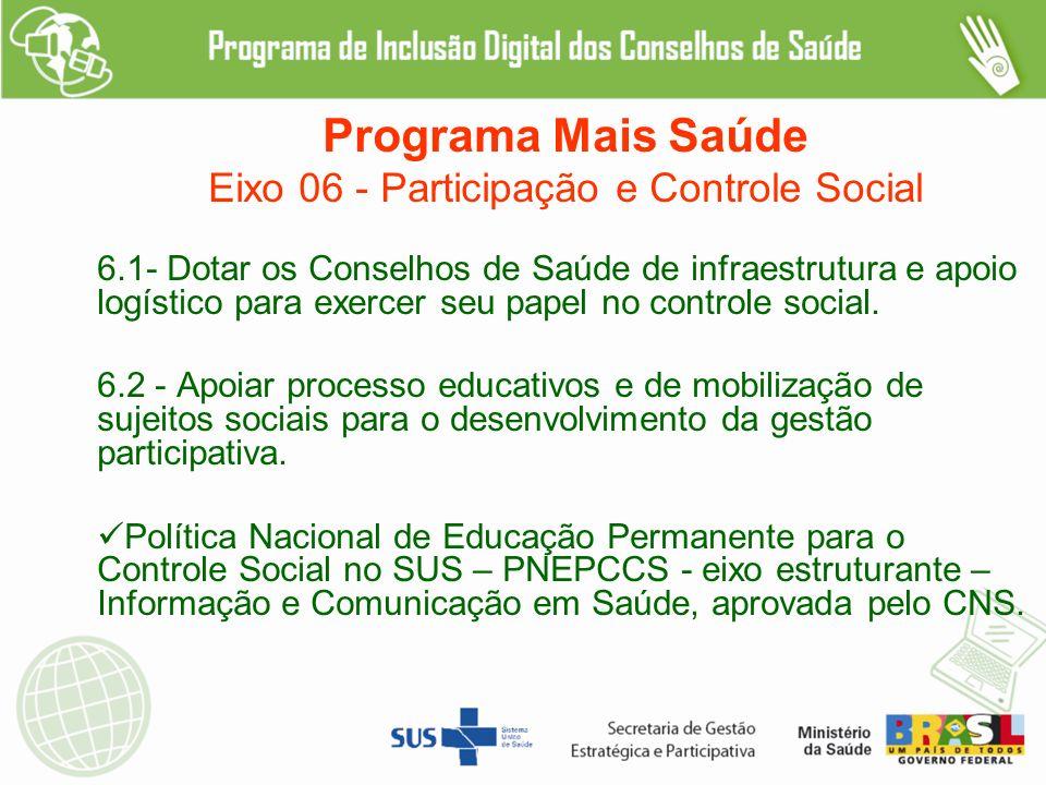 Eixo 06 - Participação e Controle Social