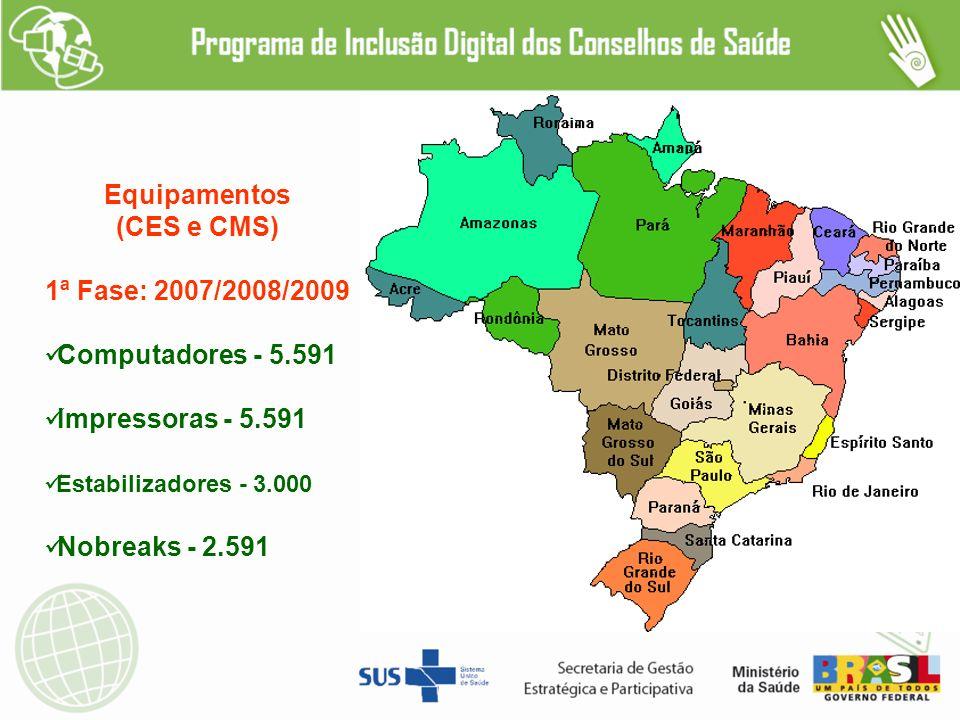 Equipamentos (CES e CMS) 1ª Fase: 2007/2008/2009